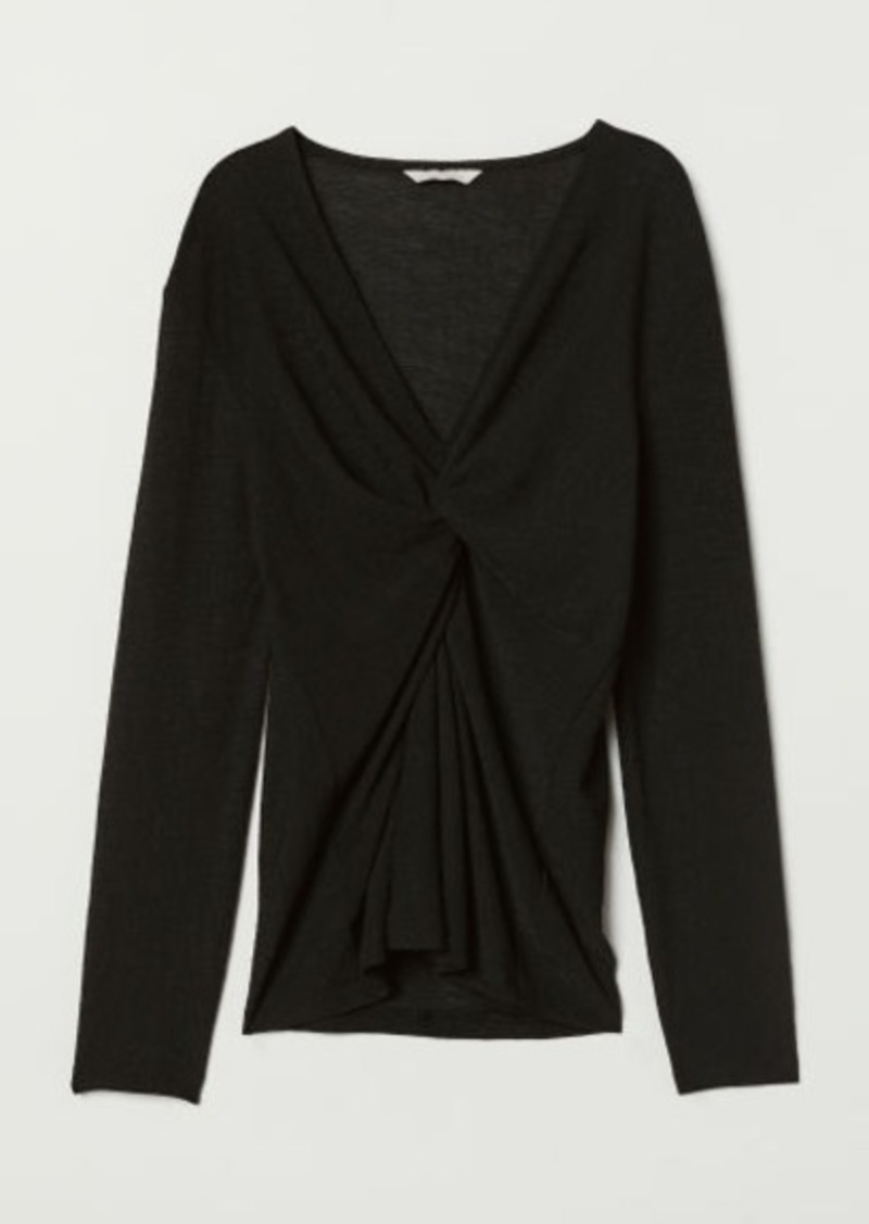 H&M H & M - Top with Knot Detail - Black