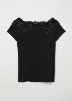 H&M H & M - Top with Lace - Black