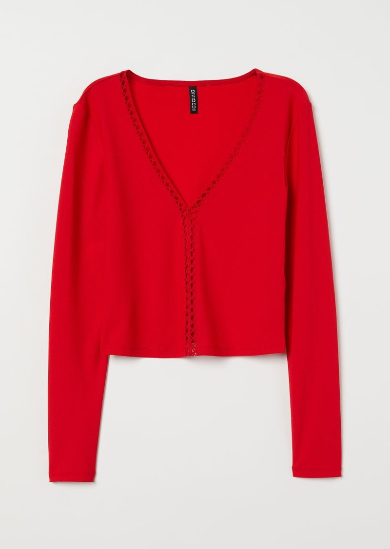 H&M H & M - Top with Lace - Red