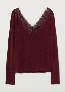H&M H & M - Top with Lace Details - Red