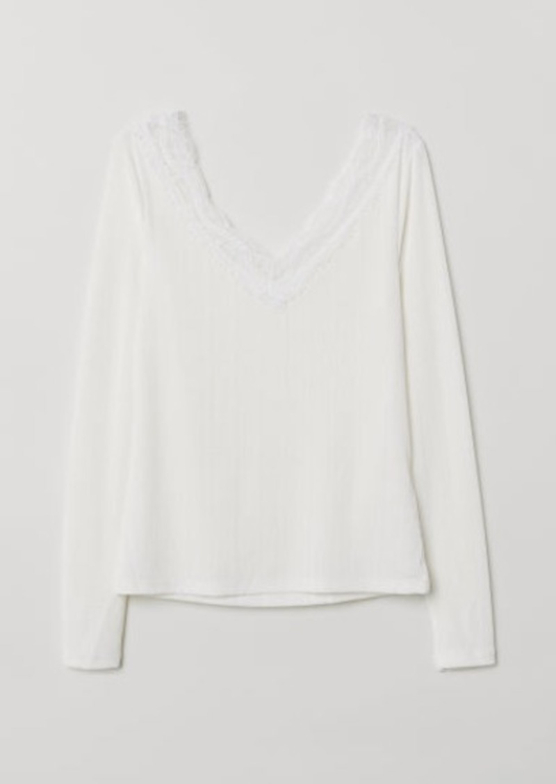 H&M H & M - Top with Lace Details - White