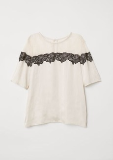 H&M H & M - Top with Lace Yoke - Beige