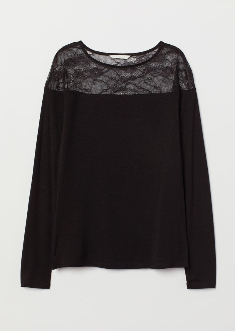 H&M H & M - Top with Lace Yoke - Black