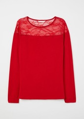 H&M H & M - Top with Lace Yoke - Red