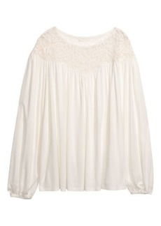 H&M H & M - Top with Lace Yoke - White