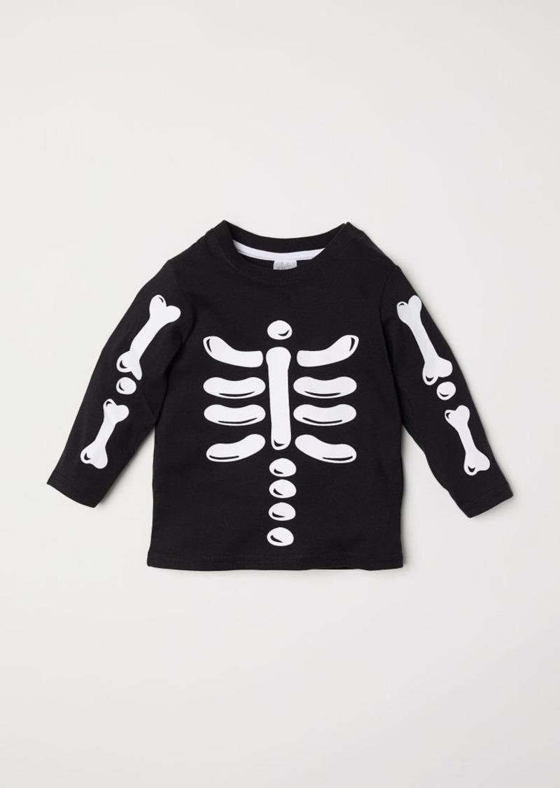 H&M H & M - Top with Printed Design - Black