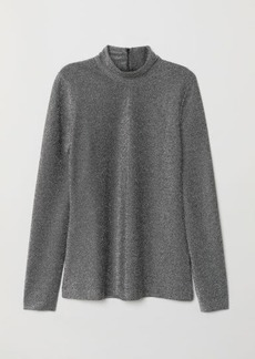 H&M H & M - Top with Stand-up Collar - Black