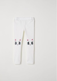 H&M H & M - Treggings with Appliqués - White
