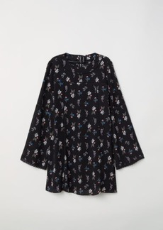 H&M H & M - Trumpet-sleeve Dress - Black