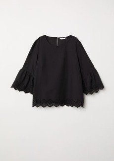 H&M H & M - Trumpet-sleeved Blouse - Black