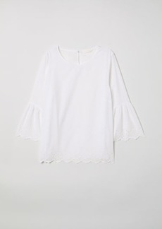 H&M H & M - Trumpet-sleeved Blouse - White