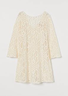 H&M H & M - Trumpet-sleeved Lace Dress - White
