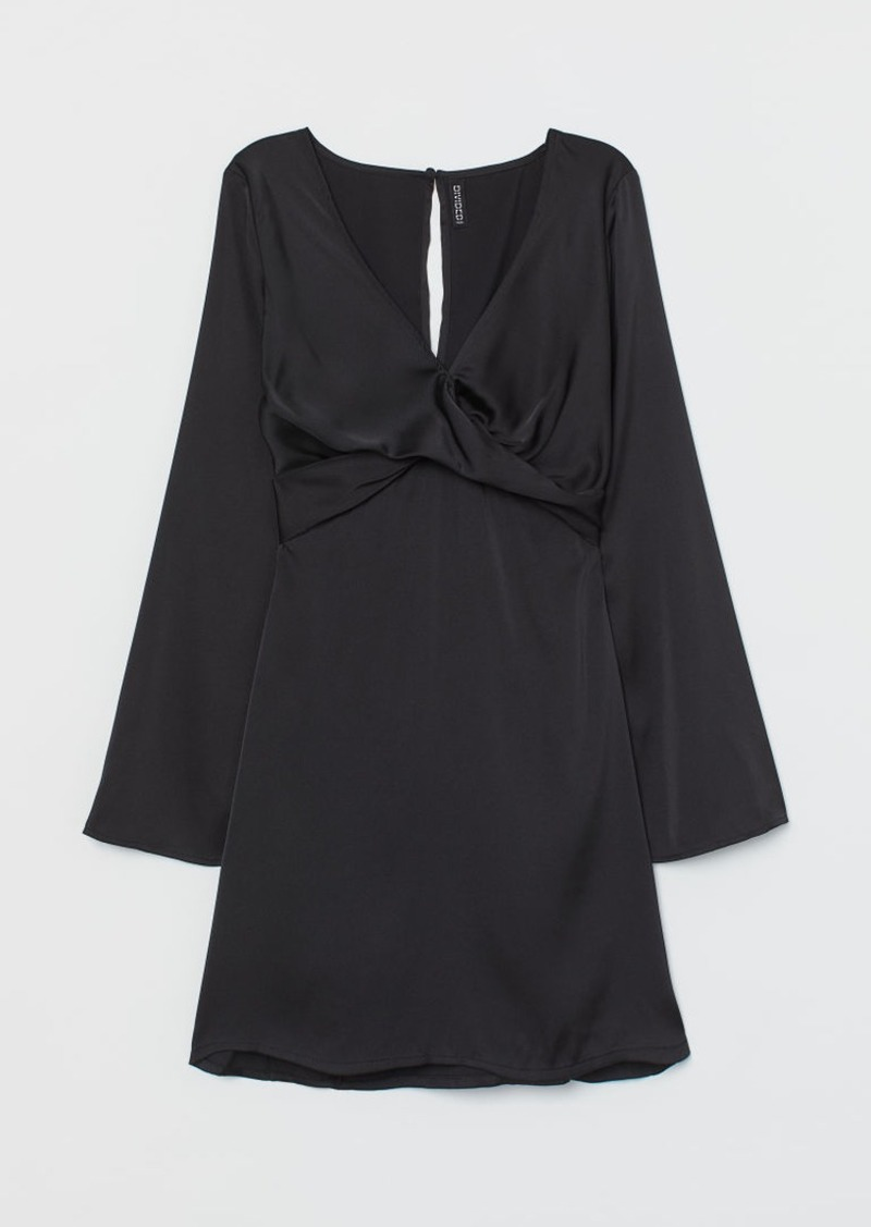 H&M H & M - Trumpet-sleeved Satin Dress - Black