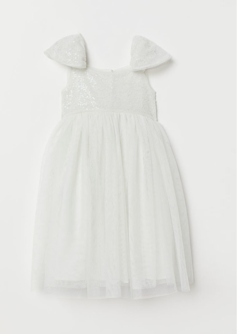 H&M H & M - Tulle Dress with Sequins - White
