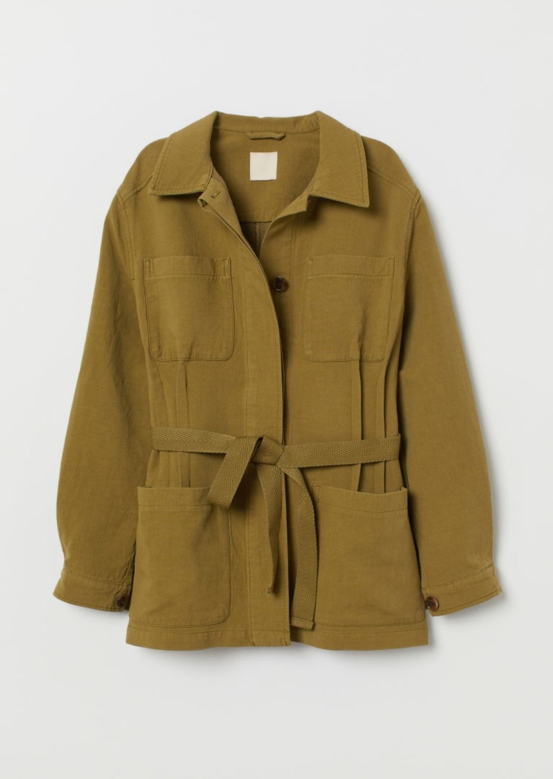 H&M H & M - Twill Jacket with Tie Belt - Green