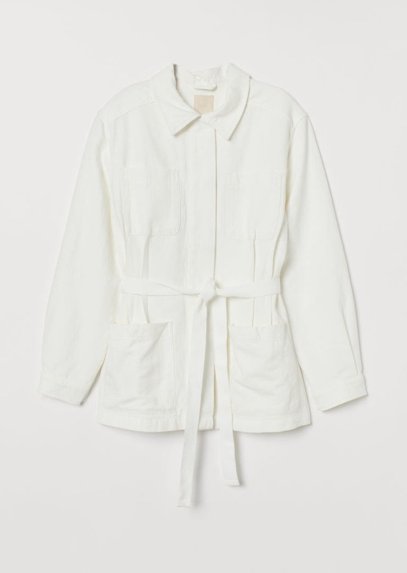 H&M H & M - Twill Jacket with Tie Belt - White