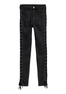 H&M H & M - Twill Pants with Lacing - Black
