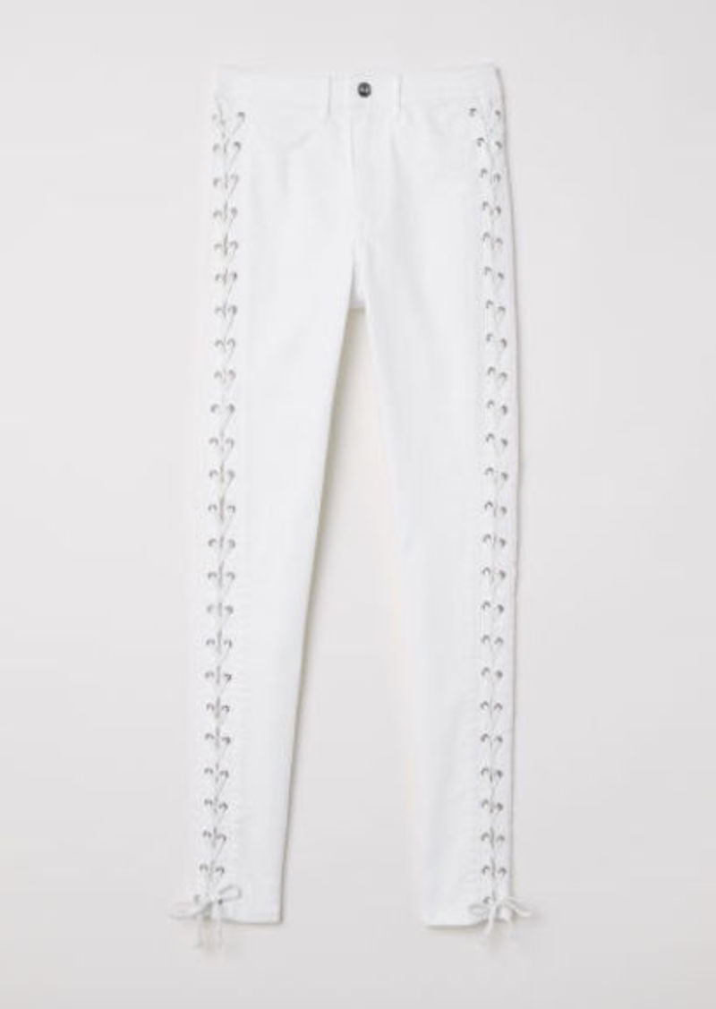 H&M H & M - Twill Pants with Lacing - White
