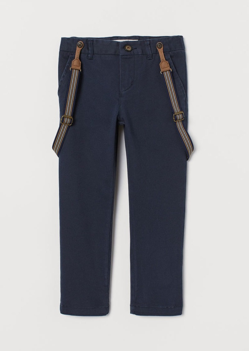 H&M H & M - Twill Pants with Suspenders - Blue