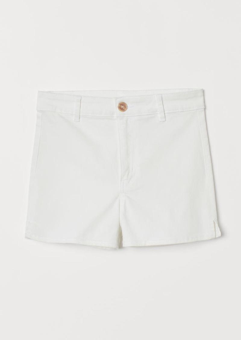 H&M H & M - Twill Shorts High Waist - White