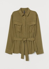 H&M H & M - Utility Shirt with Tie Belt - Green
