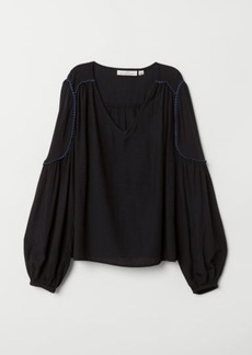 H&M H & M - V-neck Blouse - Black