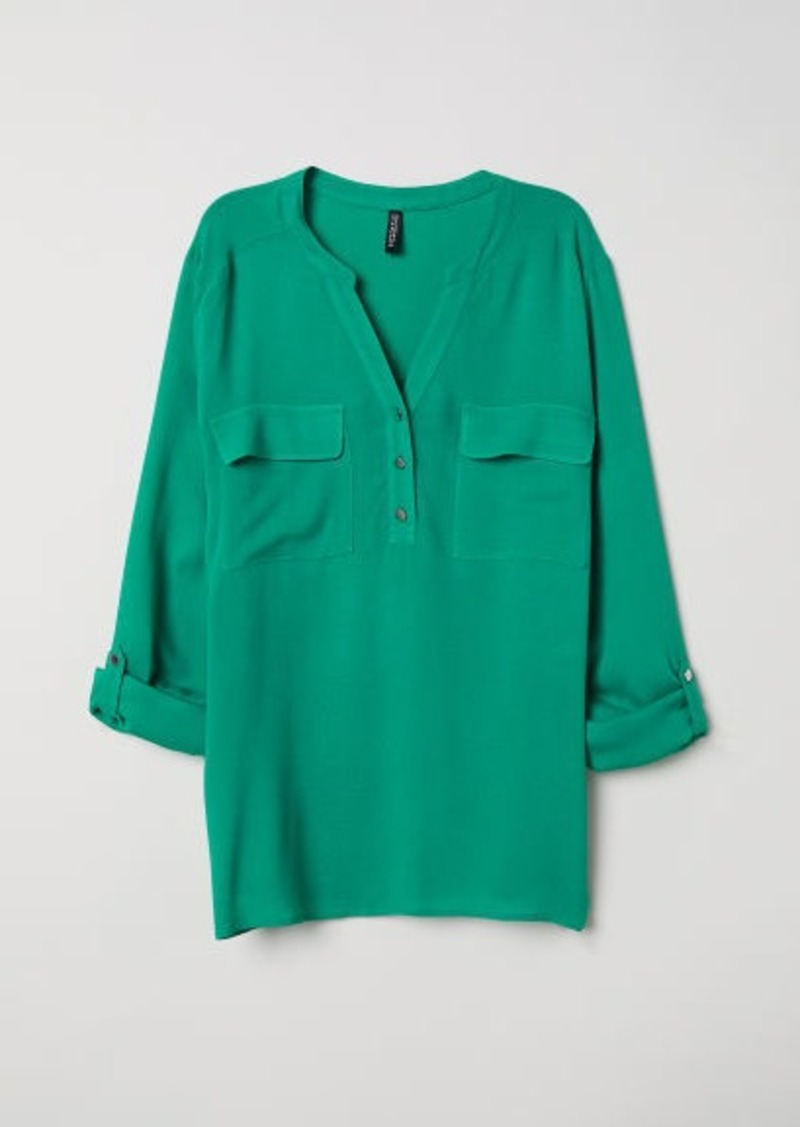 H&M H & M - V-neck Blouse - Green