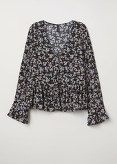 H&M H & M - V-neck Blouse with Buttons - Black