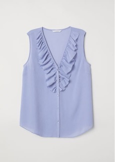H&M H & M - V-neck Blouse with Flounce - Blue