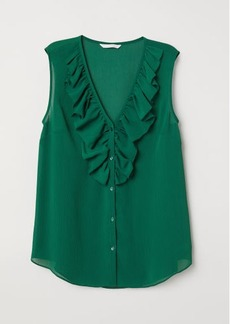 H&M H & M - V-neck Blouse with Flounce - Green