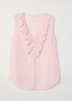 H&M H & M - V-neck Blouse with Flounce - Pink