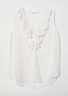 H&M H & M - V-neck Blouse with Flounce - White