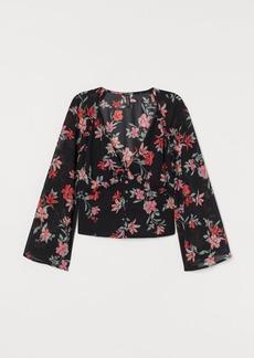 H&M H & M - V-neck Chiffon Blouse - Black