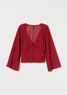 H&M H & M - V-neck Chiffon Blouse - Red