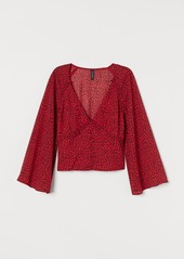 H&M H & M - V-neck Chiffon Blouse - Red