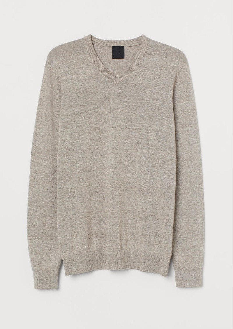 H&M H & M - V-neck Cotton Sweater - Beige