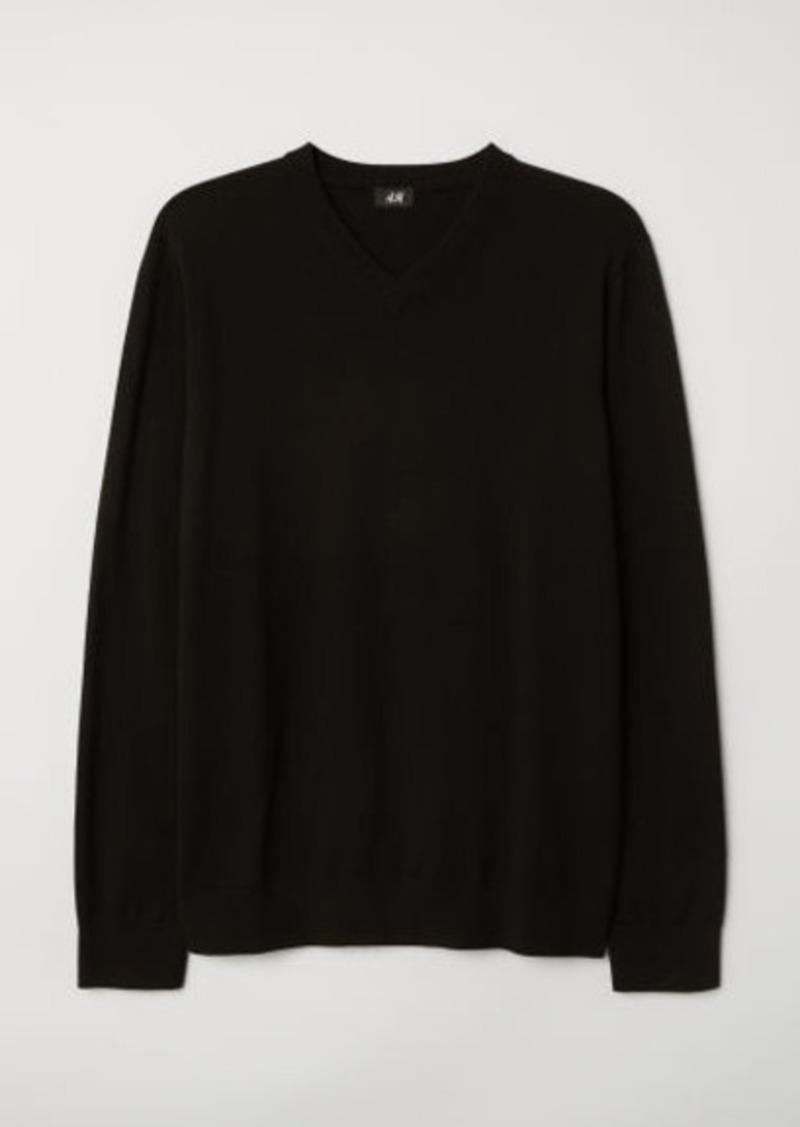H&M H & M - V-neck Cotton Sweater - Black