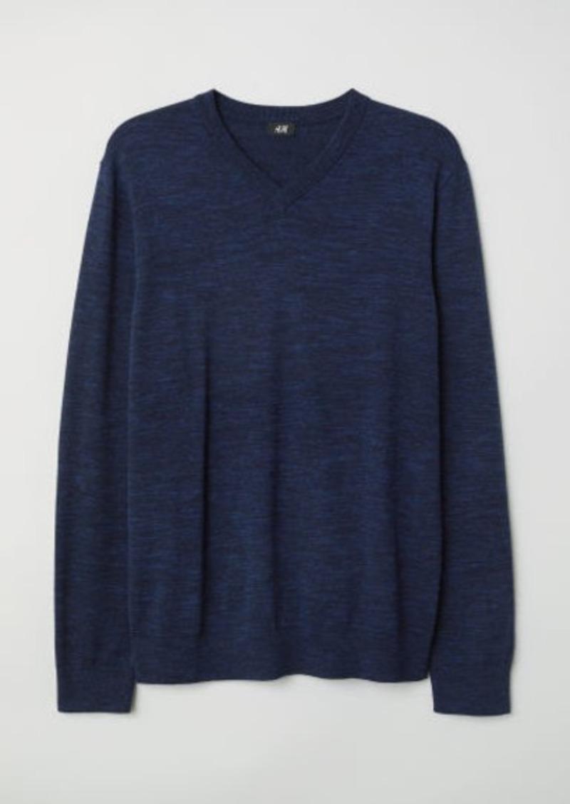 H&M H & M - V-neck Cotton Sweater - Blue