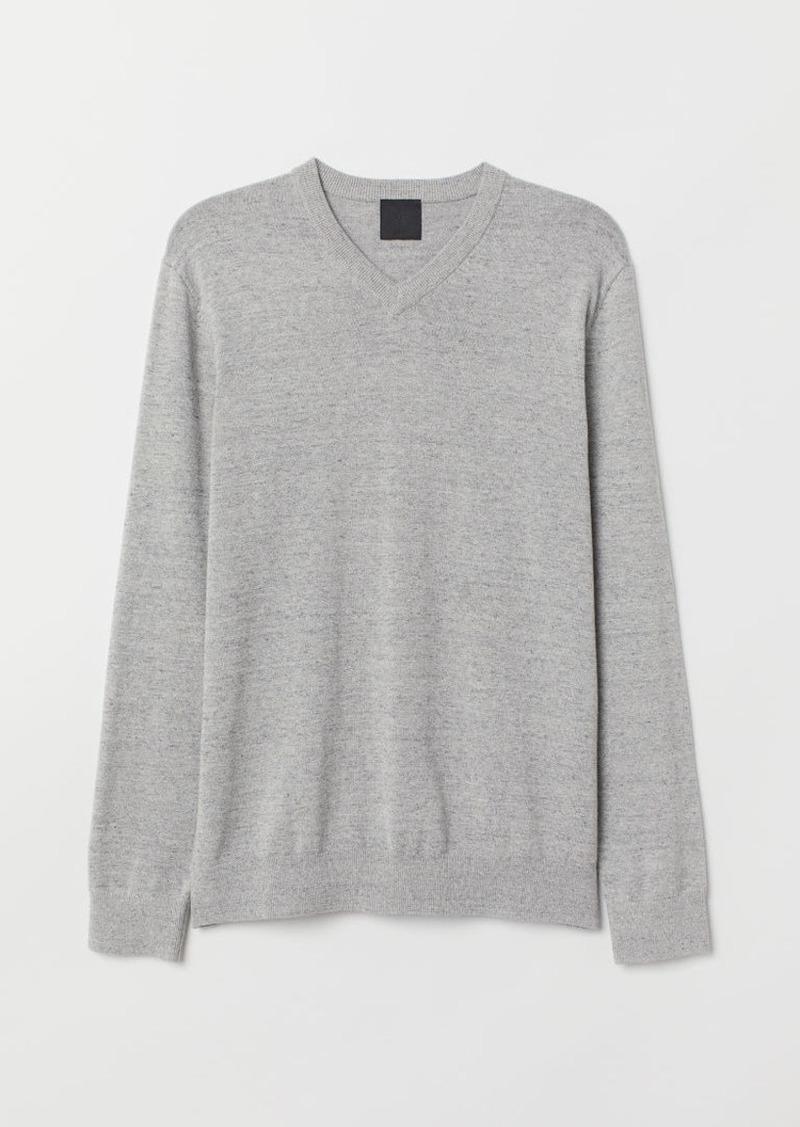 H&M H & M - V-neck Cotton Sweater - Gray