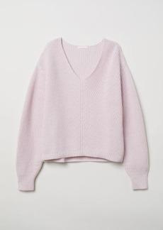 H&M H & M - V-neck Cotton Sweater - Pink