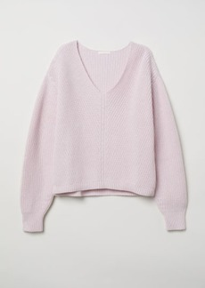 H&M H & M - V-neck Cotton Sweater - Pink