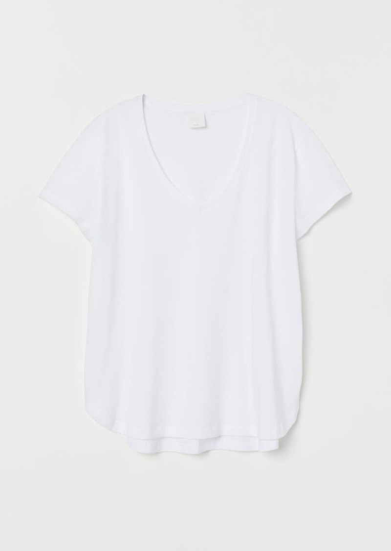H&M H & M - V-neck Cotton T-shirt - White