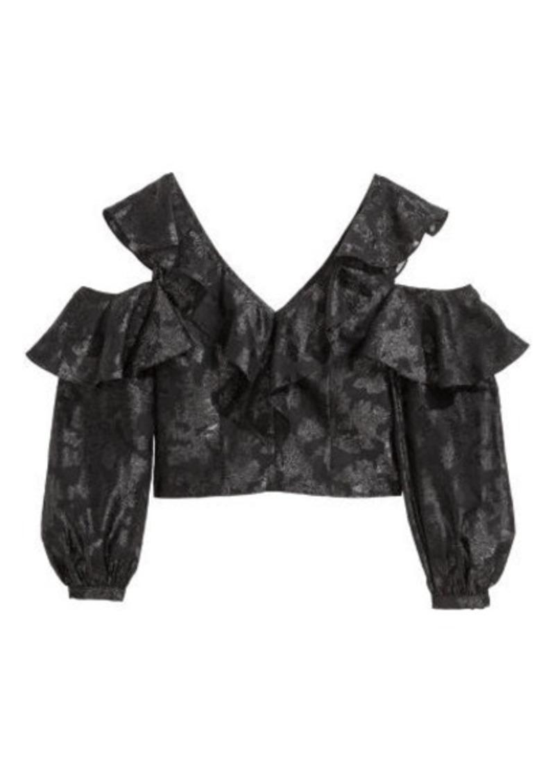 H&M H & M - V-neck Flounced Top - Black