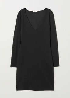 H&M H & M - V-neck Jersey Dress - Black