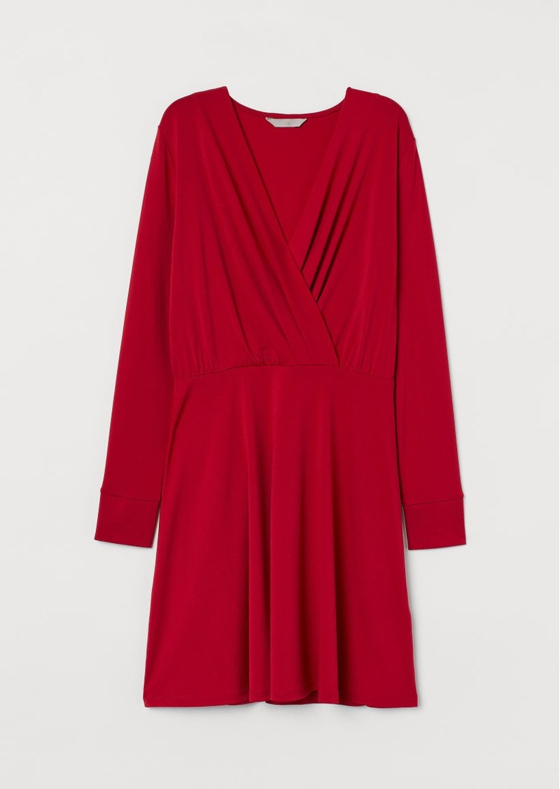 H&M H & M - V-neck Jersey Dress - Red