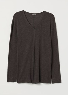 H&M H & M - V-neck Jersey Shirt - Gray