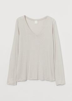H&M H & M - V-neck Jersey Top - Beige