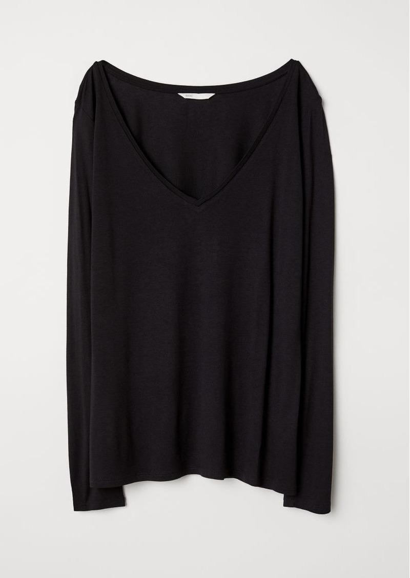 H&M H & M - V-neck Jersey Top - Black