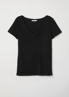 H&M H & M - V-neck Jersey Top - Black