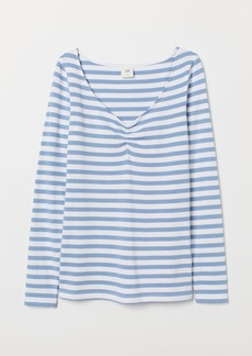 H&M H & M - V-neck Jersey Top - Blue
